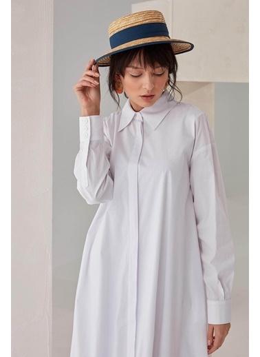 Vivencia Cep Detaylı Poplin Kadın Elbise Beyaz Beyaz
